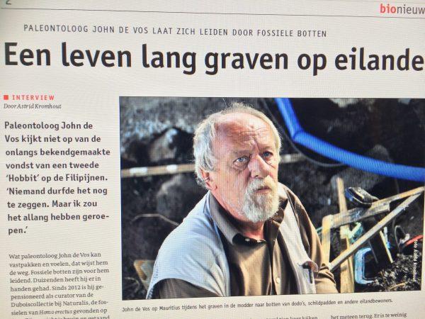 """Artikel in Bionieuws """"Een leven lang graven op eilanden"""""""