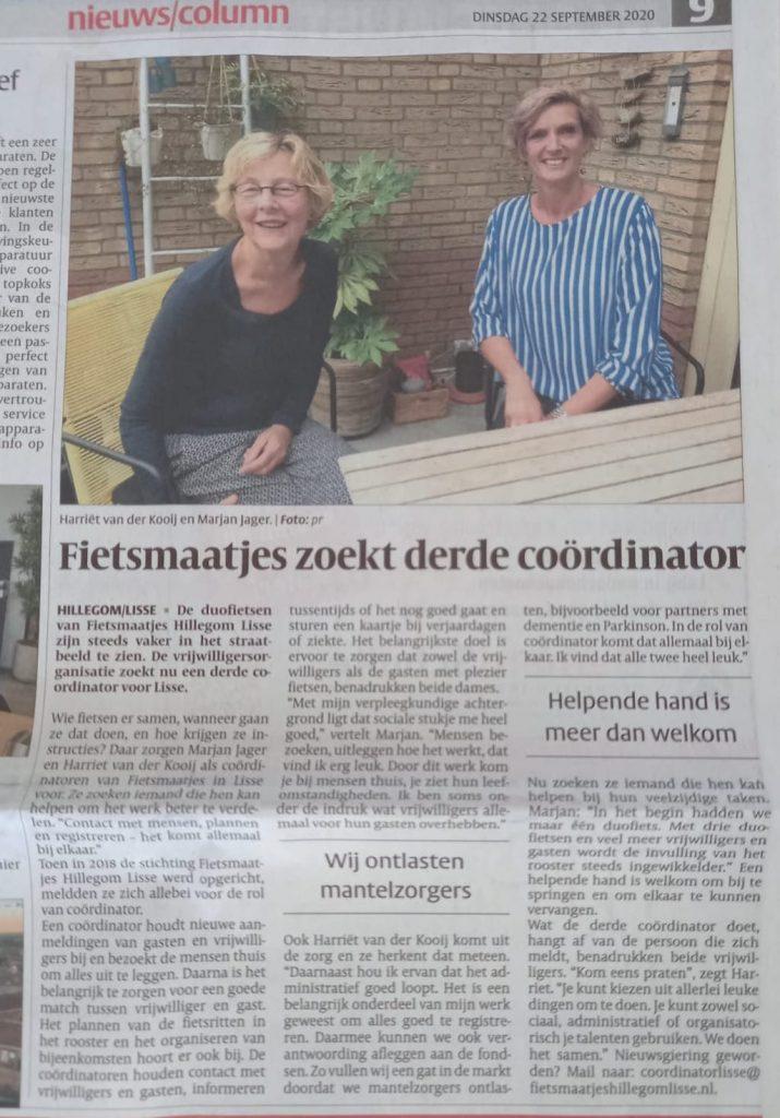 Fietsmaatjes Hillegom Lisse interview krantenknipsel
